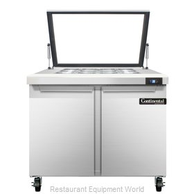 Continental Refrigerator SW36-12M-HGL Refrigerated Counter, Mega Top Sandwich /