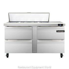 Continental Refrigerator SW60-12C-D Refrigerated Counter, Sandwich / Salad Top