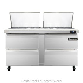 Continental Refrigerator SW60-24M-D Refrigerated Counter, Mega Top Sandwich / Sa