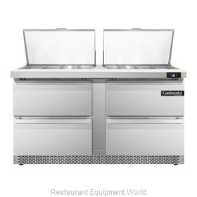 Continental Refrigerator SW60-24M-FB-D Refrigerated Counter, Mega Top Sandwich /