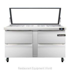 Continental Refrigerator SW60-24M-HGL-D Refrigerated Counter, Mega Top Sandwich