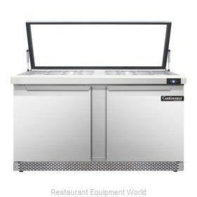 Continental Refrigerator SW60-24M-HGL-FB Refrigerated Counter, Mega Top Sandwich