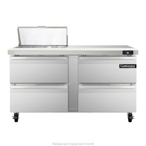 Continental Refrigerator SW60-8-D Refrigerated Counter, Sandwich / Salad Top