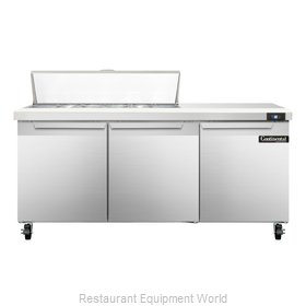Continental Refrigerator SW72-12 Refrigerated Counter, Sandwich / Salad Top