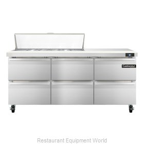 Continental Refrigerator SW72-12C-D Refrigerated Counter, Sandwich / Salad Top