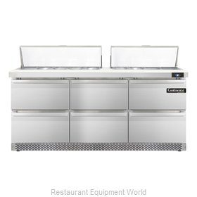 Continental Refrigerator SW72-18-FB-D Refrigerated Counter, Sandwich / Salad Top