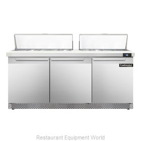 Continental Refrigerator SW72-18-FB Refrigerated Counter, Sandwich / Salad Top