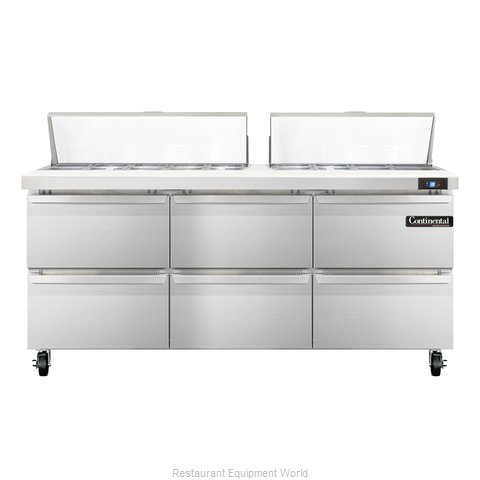 Continental Refrigerator SW72-18C-D Refrigerated Counter, Sandwich / Salad Top