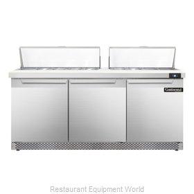 Continental Refrigerator SW72-18C-FB Refrigerated Counter, Sandwich / Salad Top