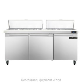 Continental Refrigerator SW72-18C Refrigerated Counter, Sandwich / Salad Top