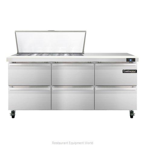Continental Refrigerator SW72-18M-D Refrigerated Counter, Mega Top Sandwich / Sa