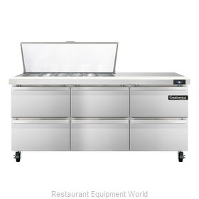 Continental Refrigerator SW72-18M-D Refrigerated Counter, Mega Top Sandwich / Sa