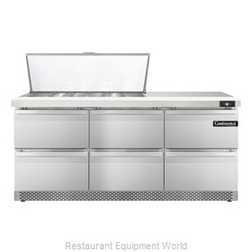 Continental Refrigerator SW72-18M-FB-D Refrigerated Counter, Mega Top Sandwich /