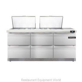 Continental Refrigerator SW72-24M-FB-D Refrigerated Counter, Mega Top Sandwich /