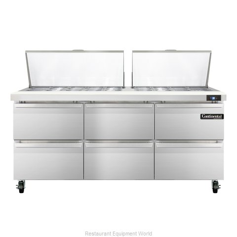 Continental Refrigerator SW72-27M-D Refrigerated Counter, Mega Top Sandwich / Sa
