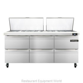 Continental Refrigerator SW72-27M-D Refrigerated Counter, Mega Top Sandwich / Sa