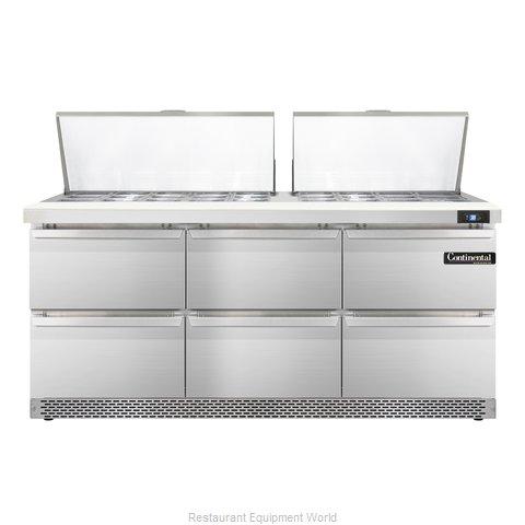 Continental Refrigerator SW72-27M-FB-D Refrigerated Counter, Mega Top Sandwich /