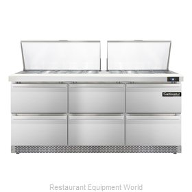 Continental Refrigerator SW72-27M-FB-D Refrigerated Counter, Mega Top Sandwich /