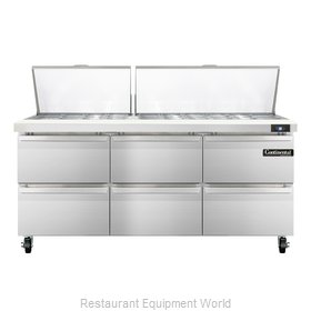 Continental Refrigerator SW72-30M-D Refrigerated Counter, Mega Top Sandwich / Sa
