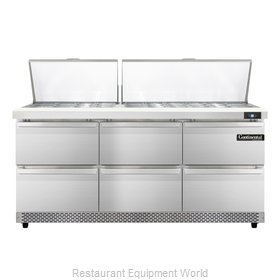 Continental Refrigerator SW72-30M-FB-D Refrigerated Counter, Mega Top Sandwich /