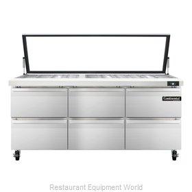 Continental Refrigerator SW72-30M-HGL-D Refrigerated Counter, Mega Top Sandwich