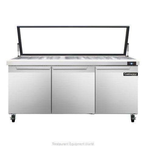 Continental Refrigerator SW72-30M-HGL Refrigerated Counter, Mega Top Sandwich /