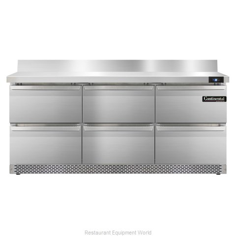 Continental Refrigerator SW72-BS-FB-D Refrigerated Counter, Work Top