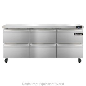 Continental Refrigerator SW72-D Refrigerated Counter, Work Top