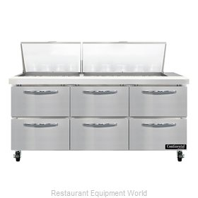 Continental Refrigerator SW72N27M-D Refrigerated Counter, Mega Top Sandwich / Sa