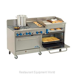 Comstock Castle 2F330-1.5RB-30B Range 72 4 open burners 30 griddle 18 cha