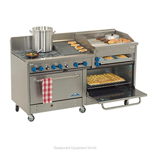 Comstock Castle 2F330-2.5RB-30B Range 72 2 open burners 30 griddle 30 cha
