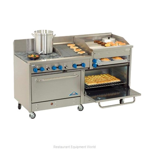 Comstock Castle 2F330-2RB-24B Range 72 4 open burners 24 griddle 24 char- (Magnified)
