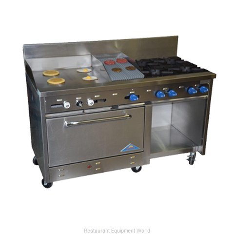 Comstock Castle F33032-3RB Range 60 4 open burners 36 char-broiler (Magnified)