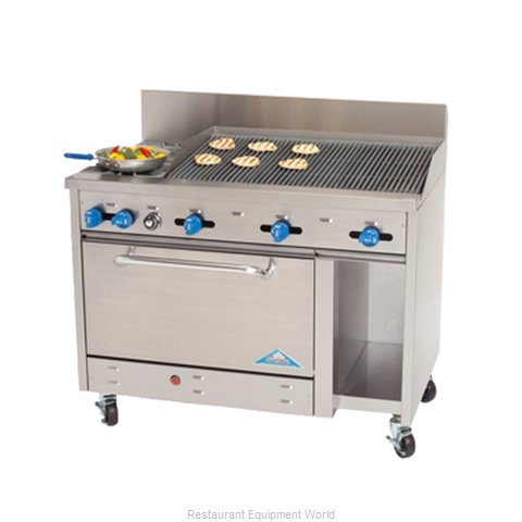 Comstock Castle F3430-3RB Range 48 2 open burners 36 char-broiler