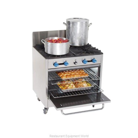 Comstock Castle FK430-1.5RB Range 36 2 open burners 18 char-broiler