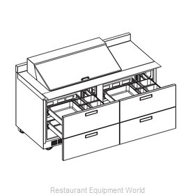 Delfield STD4460N-18M Refrigerated Counter, Mega Top Sandwich / Salad Unit