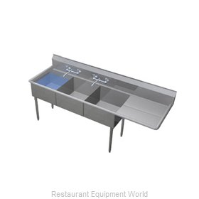 Duke 243S-136-R Sink, (3) Three Compartment