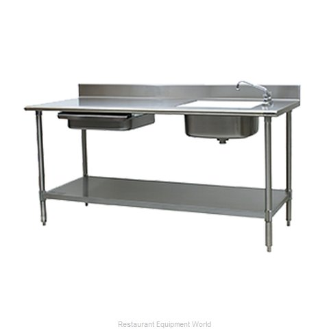 Eagle PT 3072-R Work Table 72 Long with Prep Sink