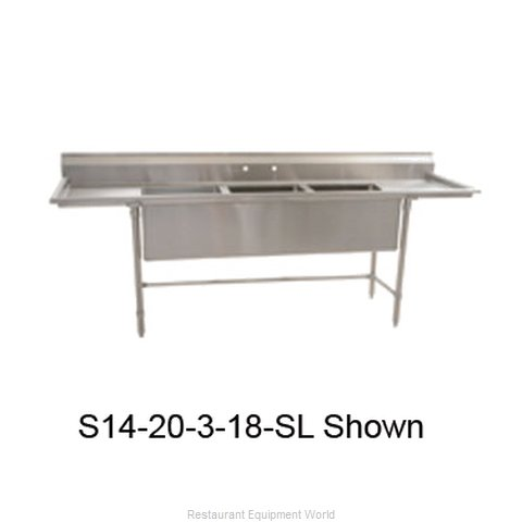 Eagle S14-20-3-24R-SLX Sink 3 Three Compartment (Magnified)