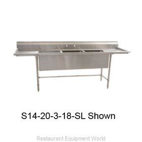 Eagle S14-20-3-24R-SLX Sink 3 Three Compartment