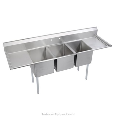 Elkay 14-3C18X18-2-24 Sink 3 Three Compartment (Magnified)