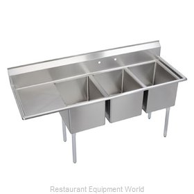 Elkay 14-3C18X24-L-24 Sink, (3) Three Compartment