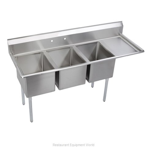 Elkay 14-3C18X30-R-24 Sink, (3) Three Compartment