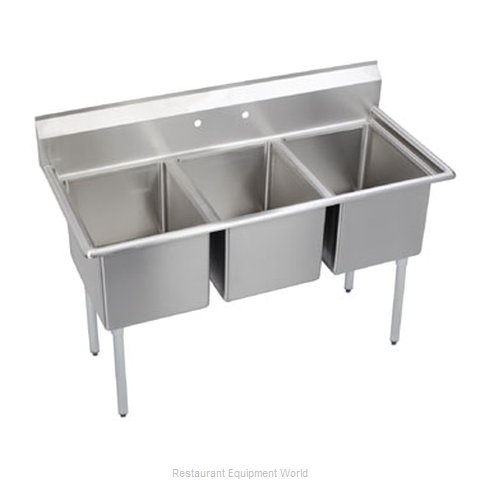 Elkay 14-3C24X24-0X Sink, (3) Three Compartment (Magnified)