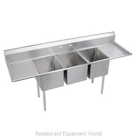 Elkay 14-3C24X24-2-30 Sink, (3) Three Compartment
