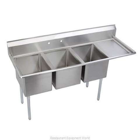 Elkay 14-3C24X24-R-24X Sink, (3) Three Compartment