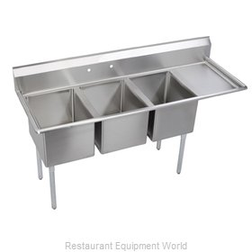 Elkay 14-3C24X24-R-30 Sink, (3) Three Compartment