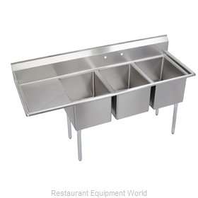 Elkay 14-3C30X30-L-24 Sink, (3) Three Compartment
