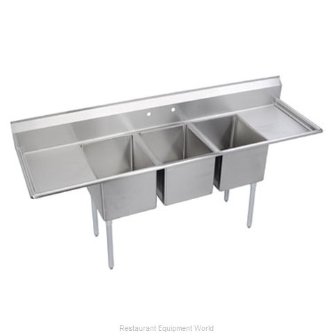 Elkay 3C18X18-2-18X Sink, (3) Three Compartment (Magnified)