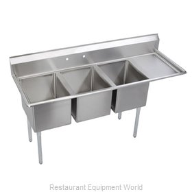 Elkay 3C24X24-R-24 Sink, (3) Three Compartment